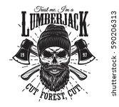 vintage hipster lumberjack... | Shutterstock .eps vector #590206313