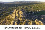 aerial flyover of the boulders... | Shutterstock . vector #590213183