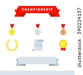 icons championship set. flat... | Shutterstock .eps vector #590224157