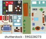 top view apartment interior set ... | Shutterstock .eps vector #590228273