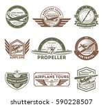 airplane vintage isolated label ... | Shutterstock .eps vector #590228507