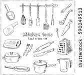 doodle kitchen tool collection  ... | Shutterstock .eps vector #590249513