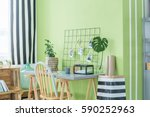 home office with green plants ... | Shutterstock . vector #590252963