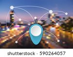easy connection network in big... | Shutterstock .eps vector #590264057