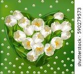 realistic tulips flowers.... | Shutterstock .eps vector #590279573