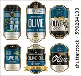 olive oil retro vintage gold... | Shutterstock .eps vector #590284133