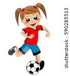 girl running and kicking... | Shutterstock .eps vector #590285513