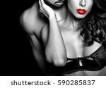 sensual woman in underwear with ... | Shutterstock . vector #590285837