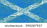 detailed vector map of glasgow... | Shutterstock .eps vector #590287937