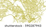 detailed vector map of cardif... | Shutterstock .eps vector #590287943