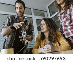 hipster freelancers in the... | Shutterstock . vector #590297693
