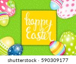 happy easter spring holiday... | Shutterstock .eps vector #590309177