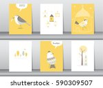 Stock vector set of cute animals poster template cards bird vector illustrations 590309507