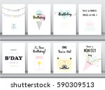 set of birthday cards... | Shutterstock .eps vector #590309513