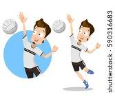 volleyball player sportsman... | Shutterstock .eps vector #590316683