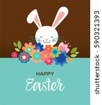 happy easter greeting card ... | Shutterstock .eps vector #590321393