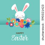 happy easter greeting card ... | Shutterstock .eps vector #590321423