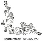 easter eggs in meadow  filigree ... | Shutterstock .eps vector #590322497