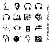 listen icons set. set of 16... | Shutterstock .eps vector #590327957