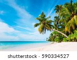 tropical sand beach | Shutterstock . vector #590334527