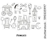 princess castle cute... | Shutterstock .eps vector #590335997