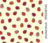 ladybugs seamless pattern.... | Shutterstock .eps vector #590338763