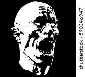 zombie screams head. scary... | Shutterstock .eps vector #590346947