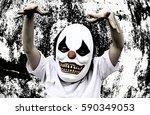 crazy clown mask halloween... | Shutterstock . vector #590349053