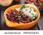 rice and red kidney beans ... | Shutterstock . vector #590352653