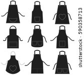 black apron set isolated on... | Shutterstock . vector #590358713