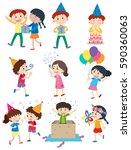 kids doing different activities ... | Shutterstock .eps vector #590360063