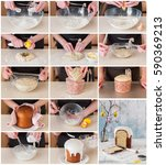 Small photo of A Step by Step Collage of Making Kulich, Russian Easter Bread with Poppy Seed and Lemon Zest