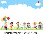 cityscape and children | Shutterstock .eps vector #590373707