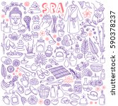 spa doodle set. hand drawn... | Shutterstock .eps vector #590378237