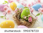 colorful easter eggs and spring ... | Shutterstock . vector #590378723