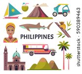 Philippines Icons Set. Vector...