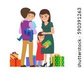 smiling small boy holding gift... | Shutterstock .eps vector #590391263