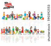 we love shopping concept with... | Shutterstock .eps vector #590392553