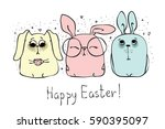 vector card with cute rabbits... | Shutterstock .eps vector #590395097