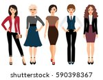 cute young women in different... | Shutterstock .eps vector #590398367