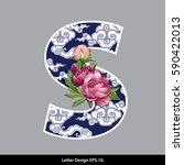 vector of peony flower on ... | Shutterstock .eps vector #590422013
