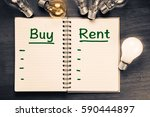 buy and rent comparison with... | Shutterstock . vector #590444897