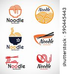 noodle restaurant and food logo ... | Shutterstock .eps vector #590445443