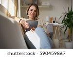 beautiful woman in early...   Shutterstock . vector #590459867