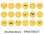 set of cute emoticons. | Shutterstock .eps vector #590478527