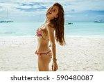 beautiful smiling female model...   Shutterstock . vector #590480087