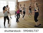 diversity people exercise class ... | Shutterstock . vector #590481737