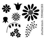 vector set of schematic black... | Shutterstock .eps vector #590482283