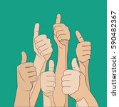 hand gesture like crowd  color... | Shutterstock .eps vector #590482367