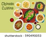 chinese cuisine festive dinner... | Shutterstock .eps vector #590490053